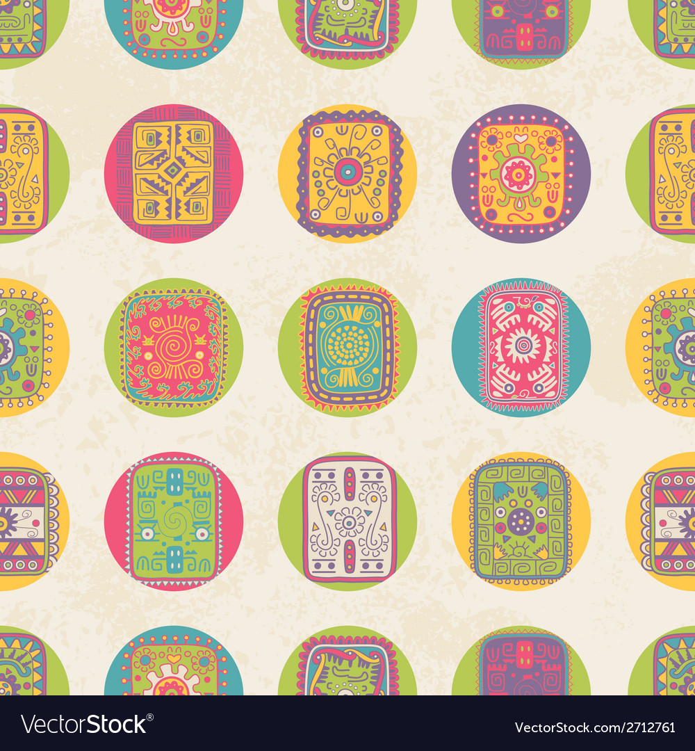 Seamless pattern with ethnic ornament polka dot vector