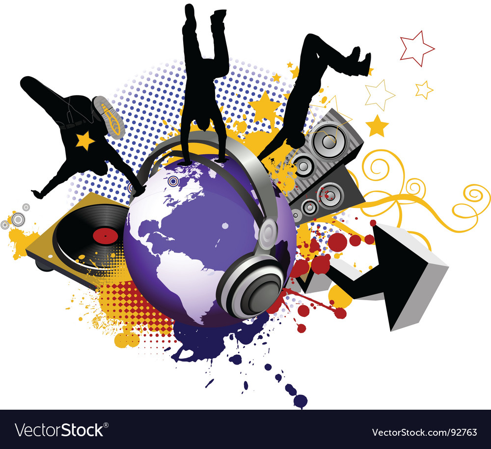Globe with dancing youth men vector