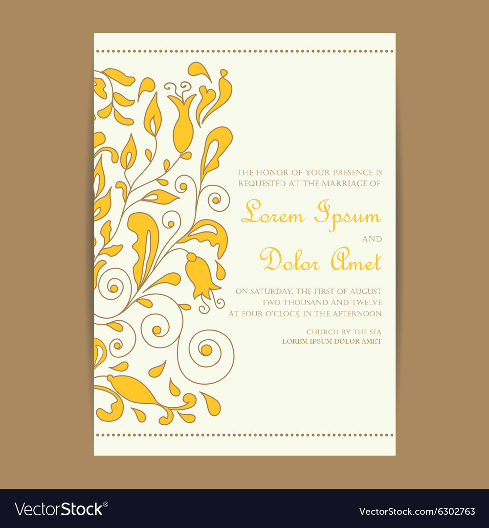 Wedding vintage invitation with floral elements vector