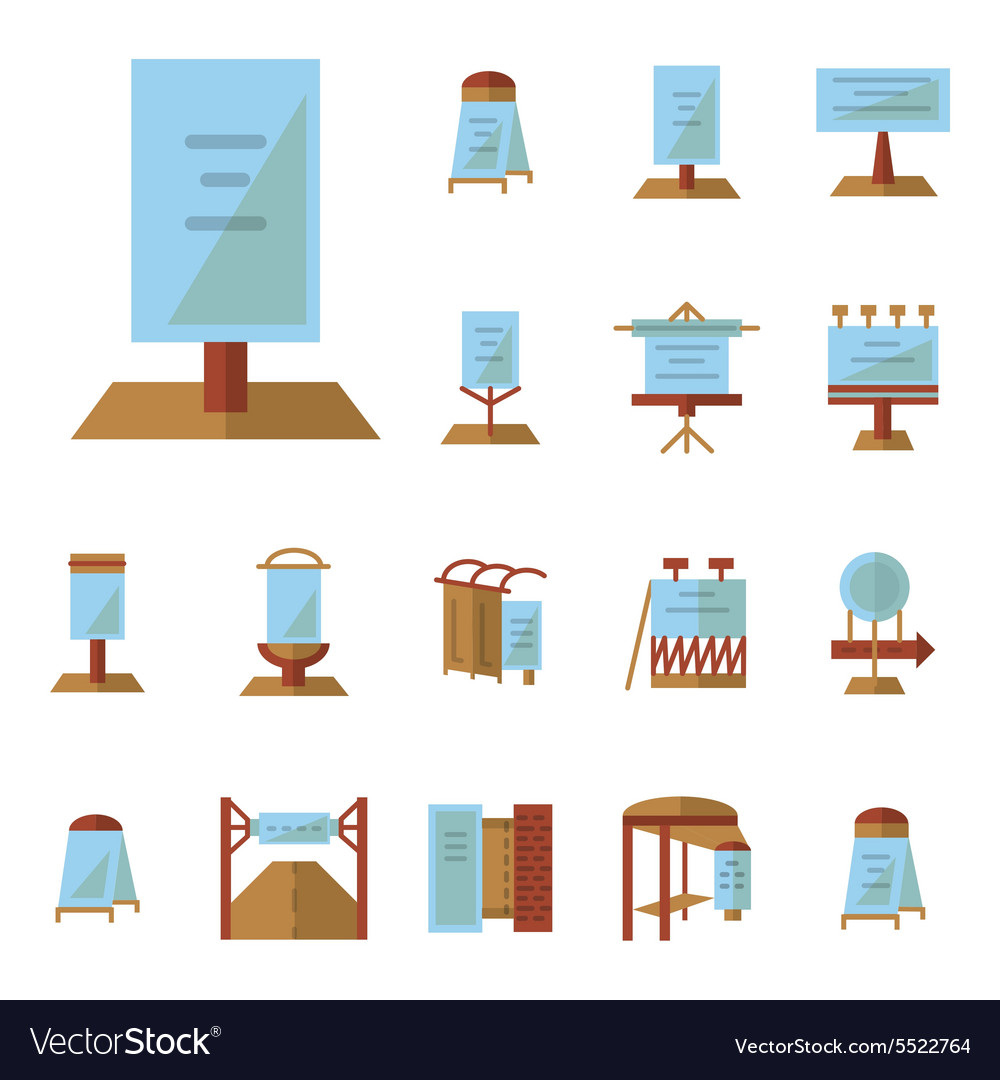 Advertising boards flat icons vector
