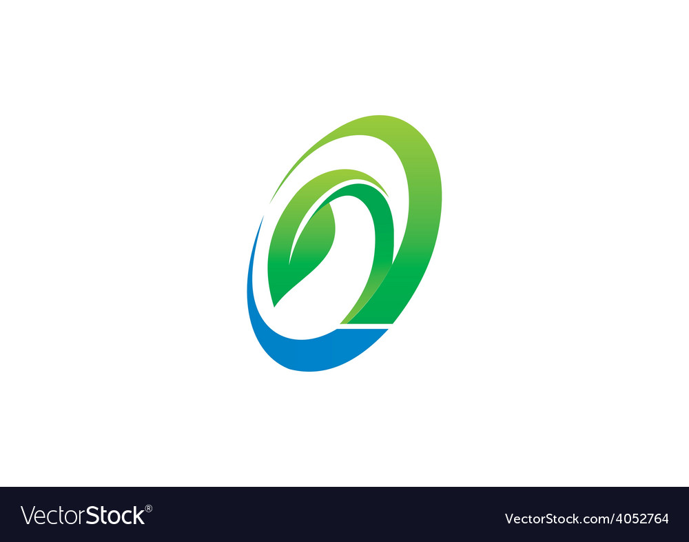 Circle ecology leaf symbol logo vector