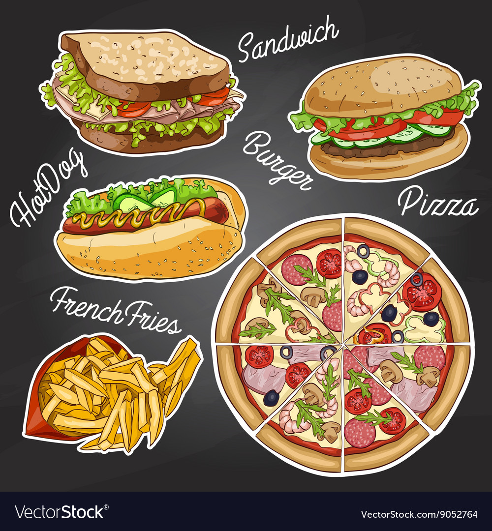 Color fast food on a black board vector