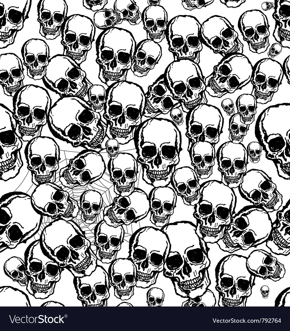 Hand drawn skull seamless background vector
