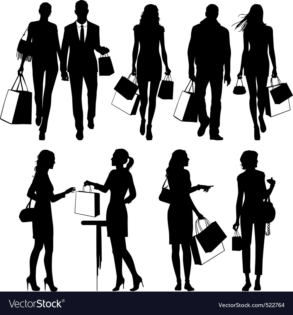 Shopping people silhouettes vector
