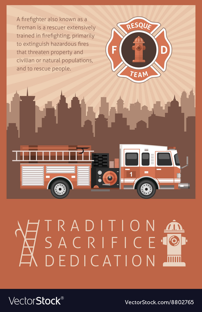 Firefighter retro poster vector