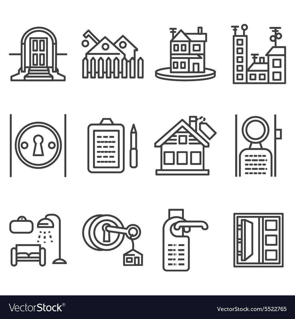 House rent black line icons vector