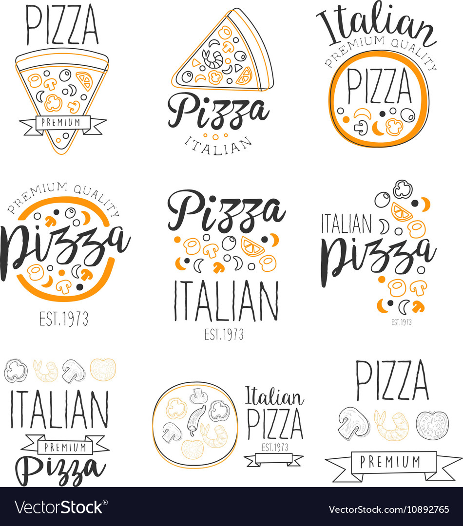 Italian pizza fast food promo labels collection vector