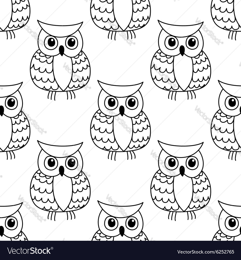 Seamless background pattern of a cute owl vector