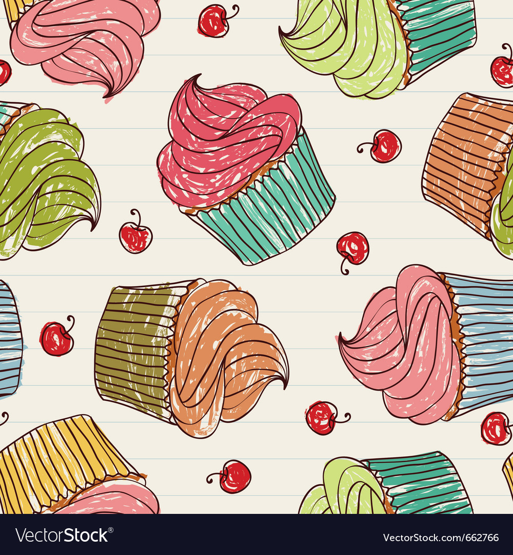 Cupcakes and cherries vector