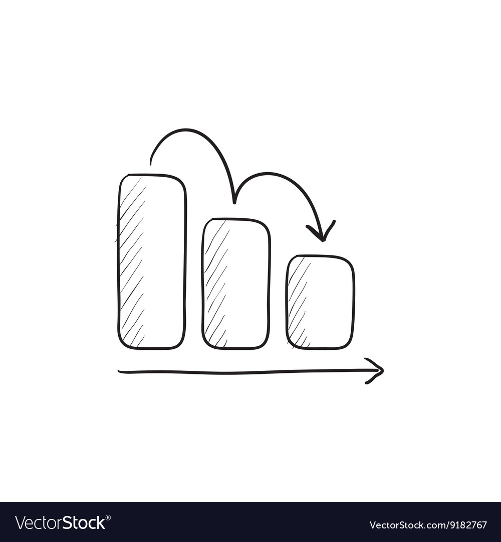 Bar chart down sketch icon vector