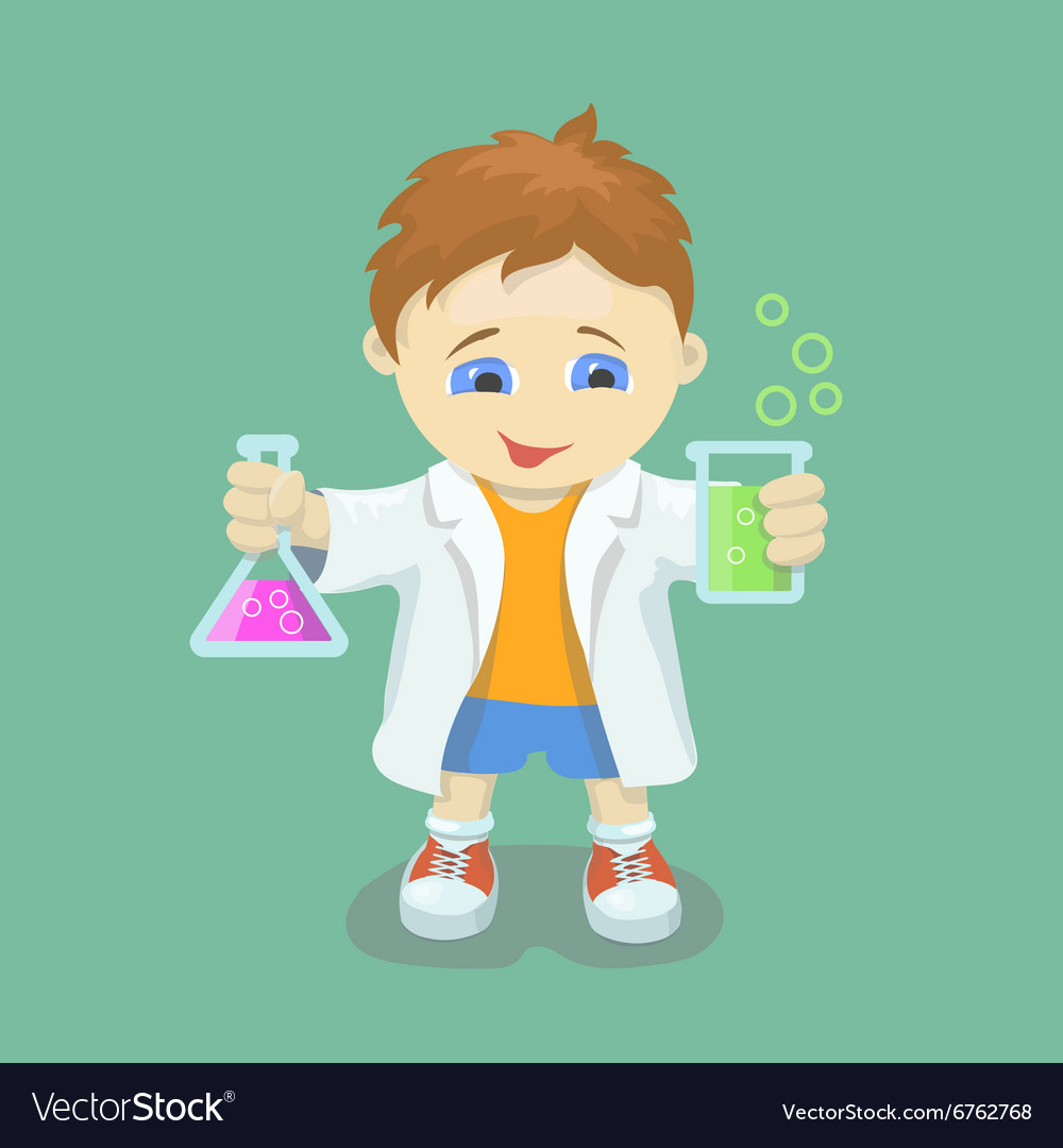 Boy doing chemical experiment young scientist vector