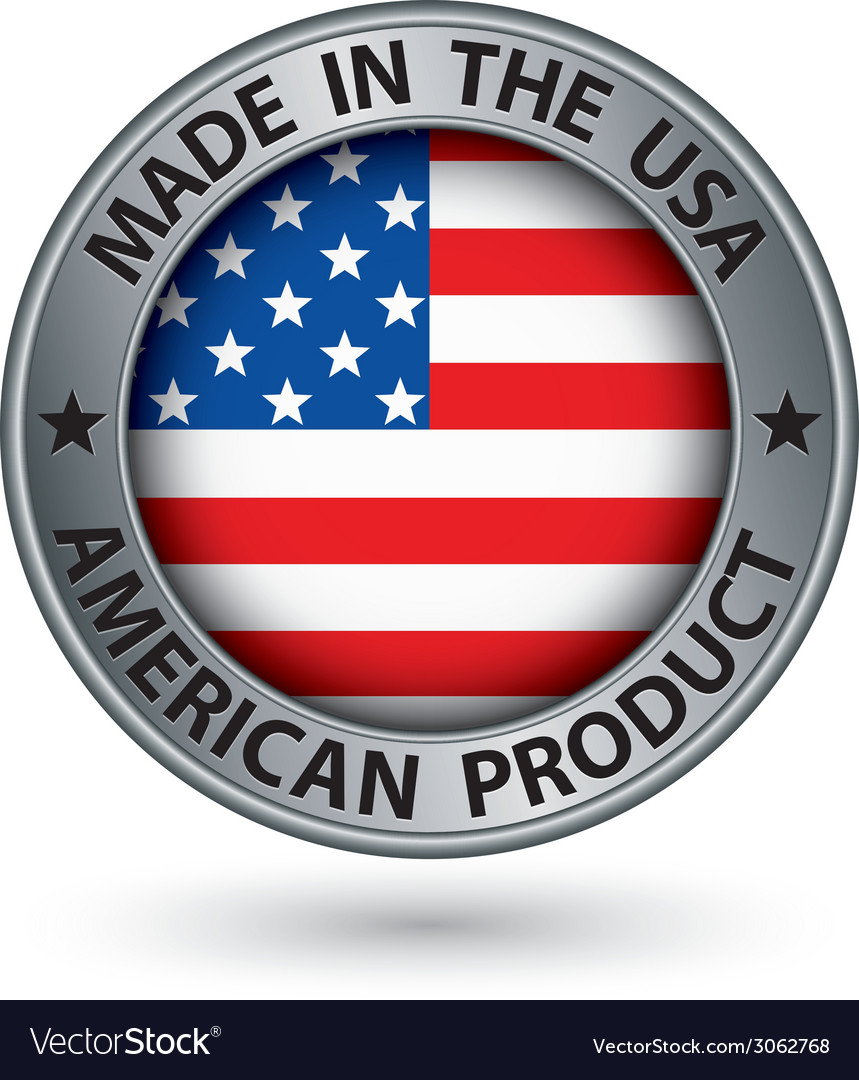 Made in the usa american product silver label with vector