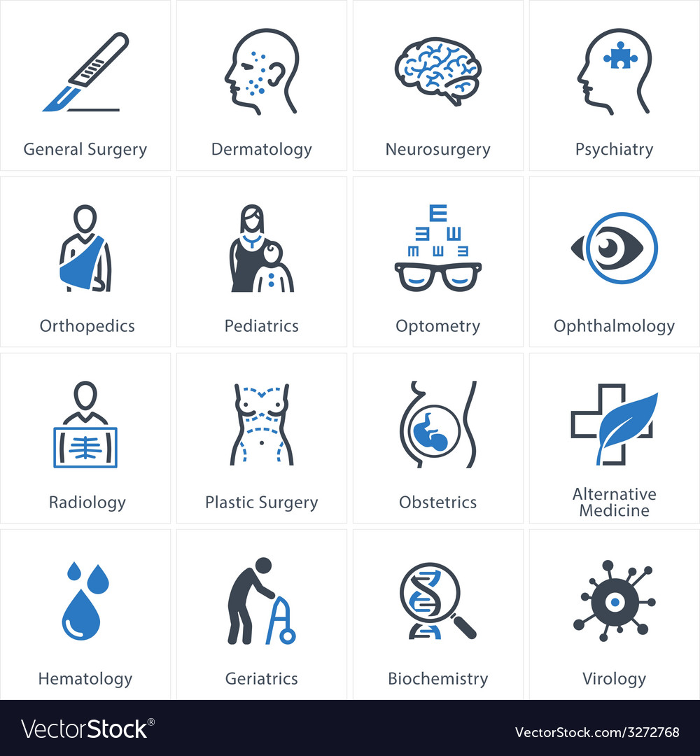 Medical and health care icons set 2  specialties vector
