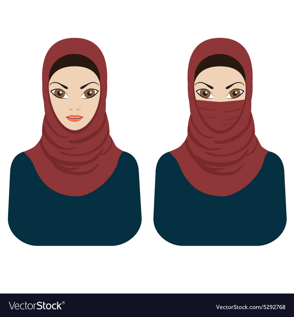 Muslim women in hijab and paranja vector