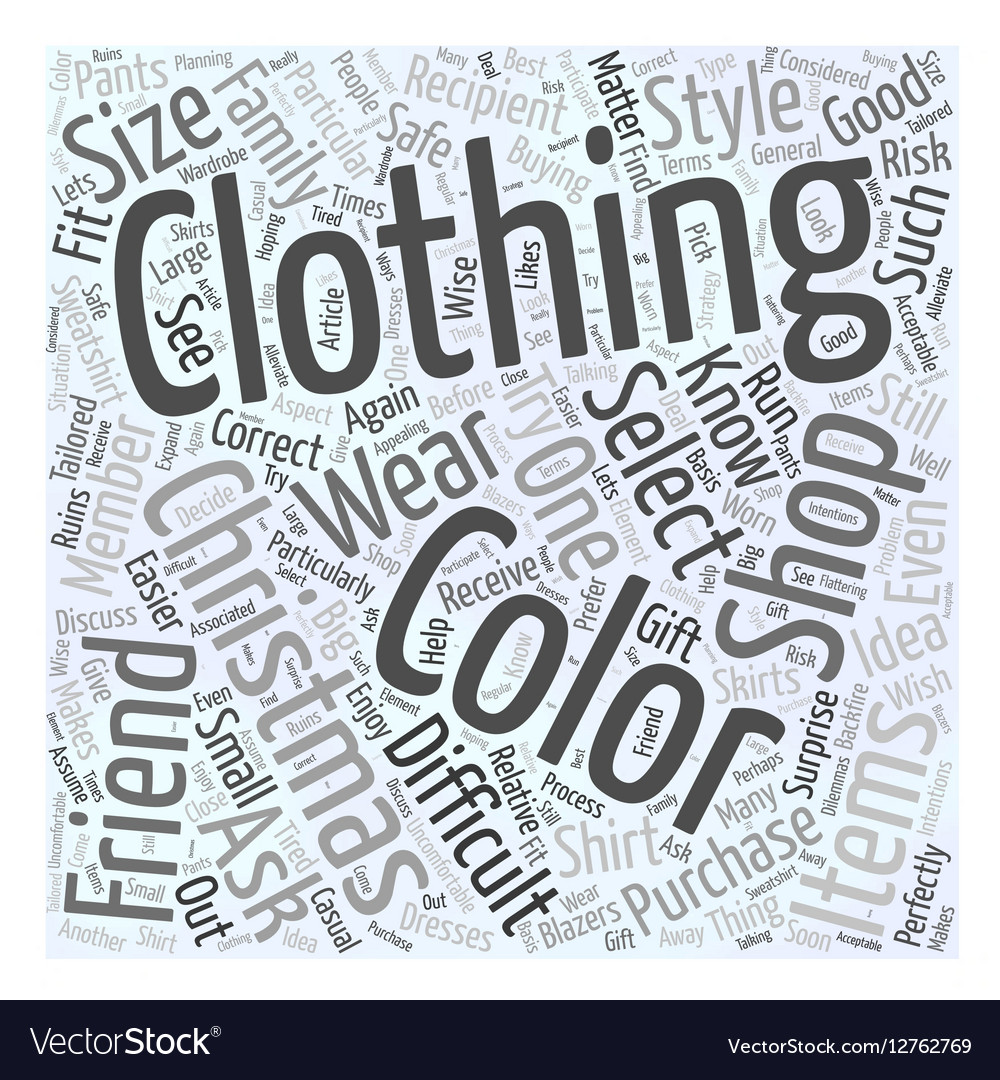 Buying clothing when christmas shopping word cloud vector