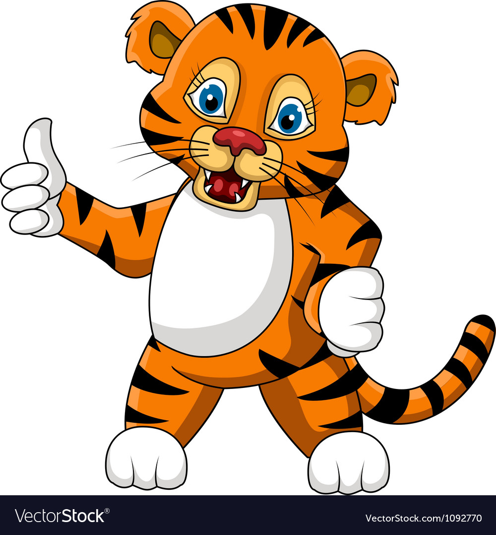 Cute young tiger cartoon expression vector