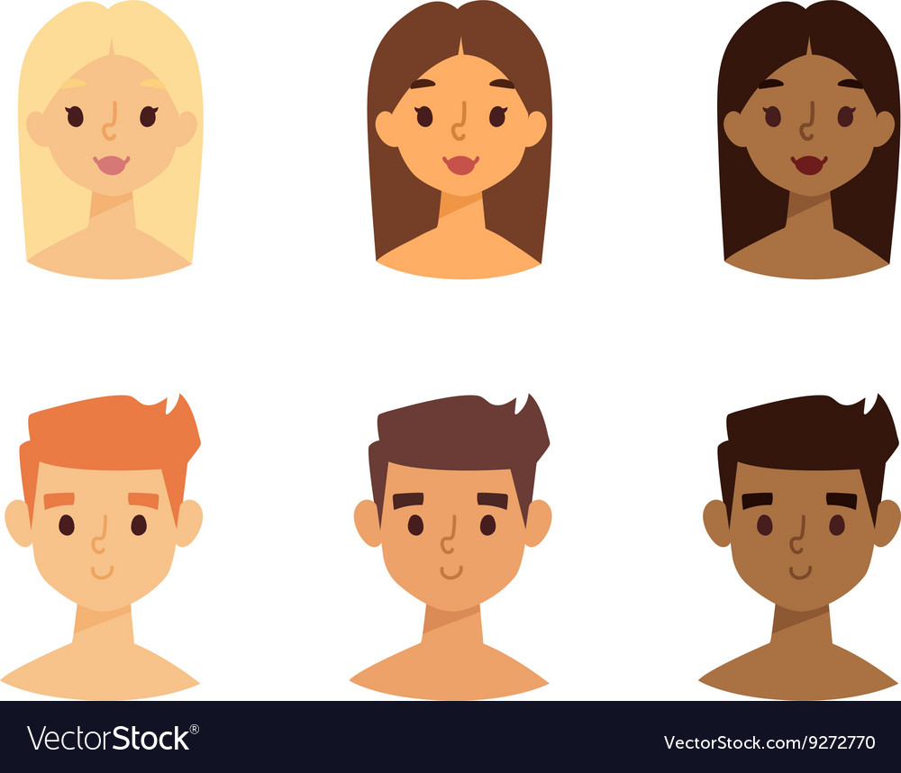 Skine tone faces set vector