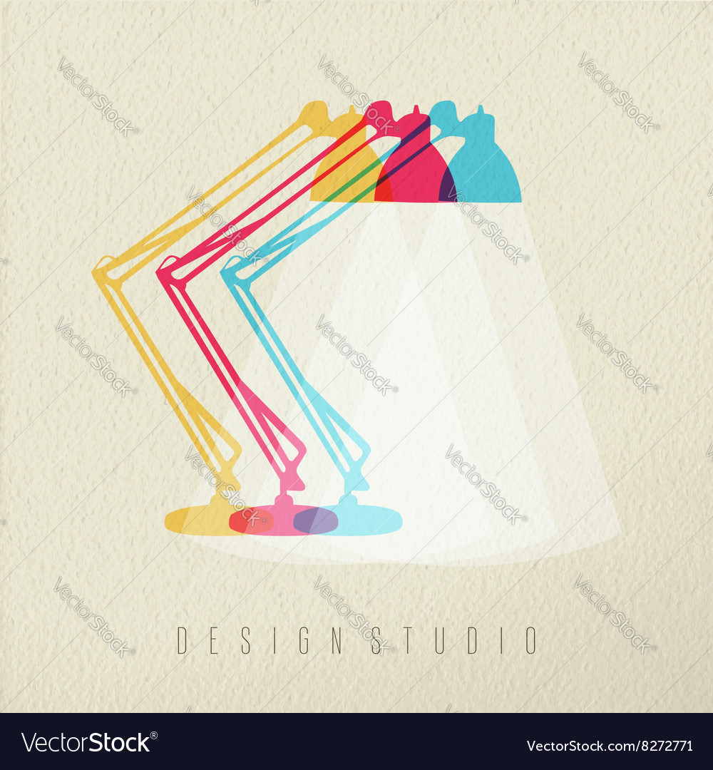 Design studio work lamp icon concept color design vector