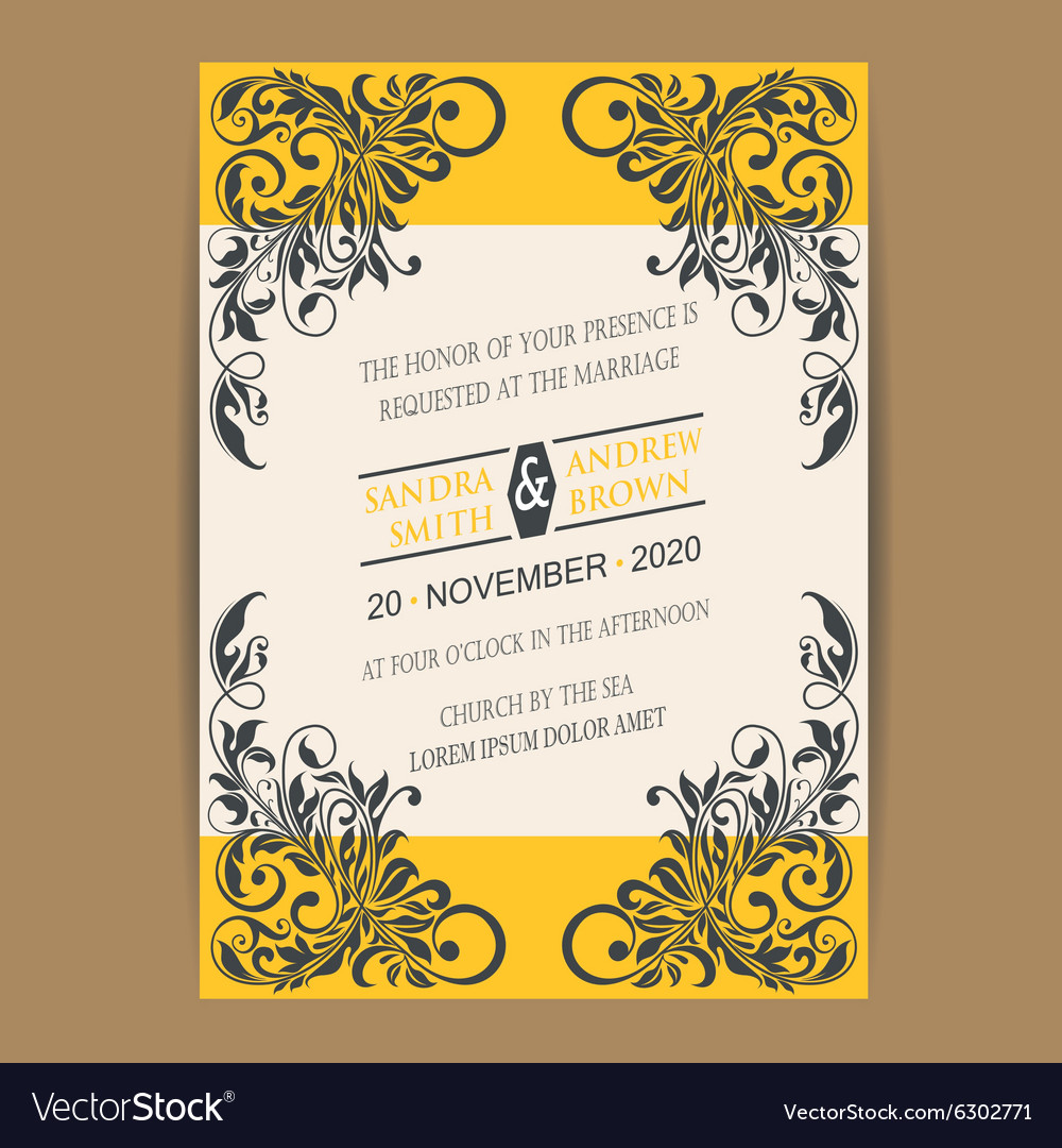 Wedding vintage wedding invitation vector