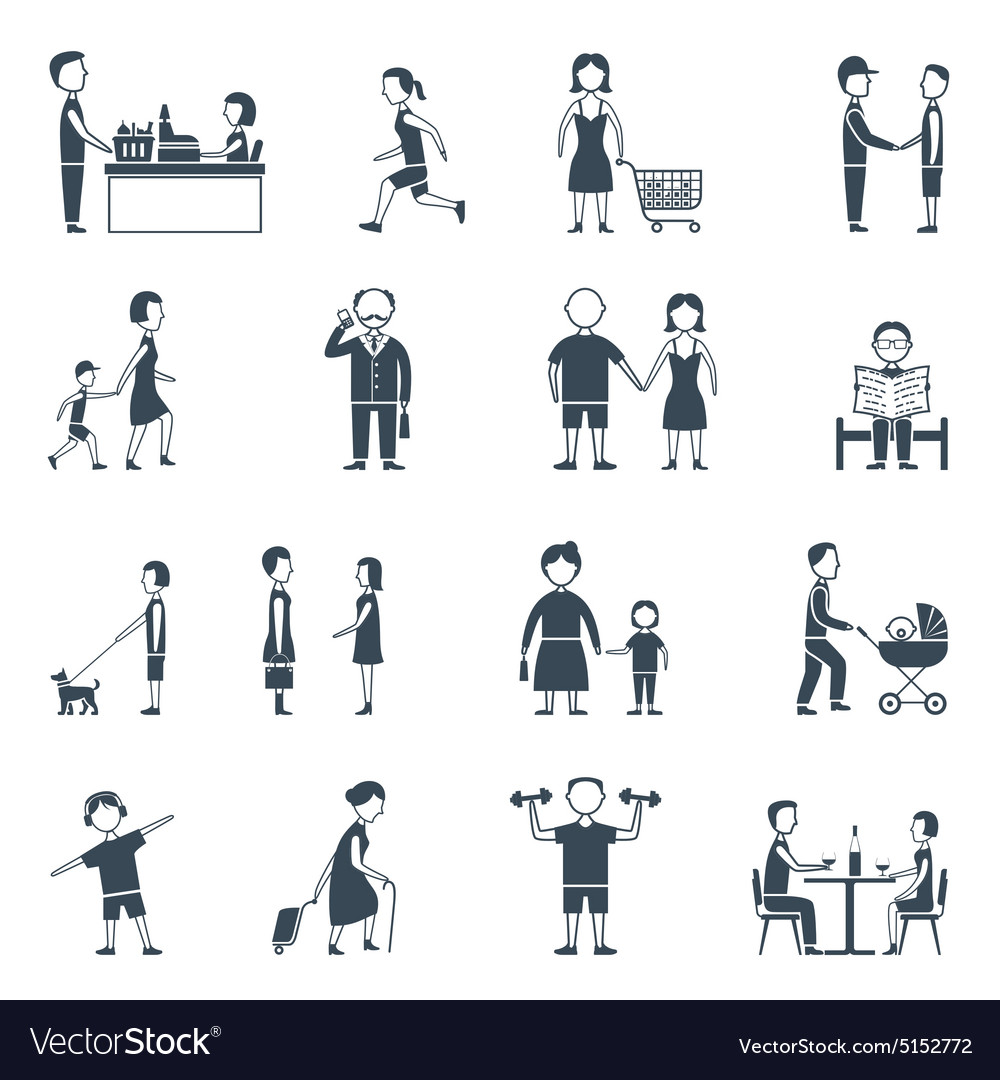 Daily life flat icon set vector
