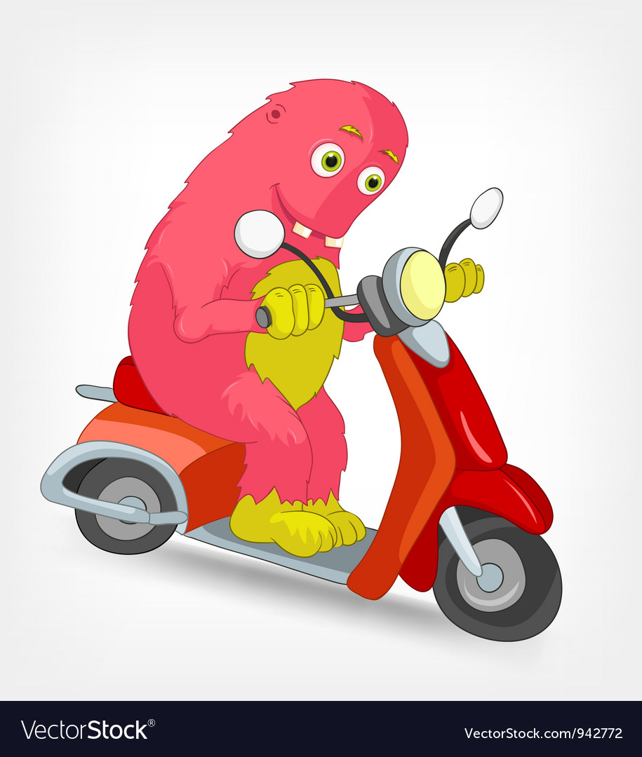 Funny monster scooter vector