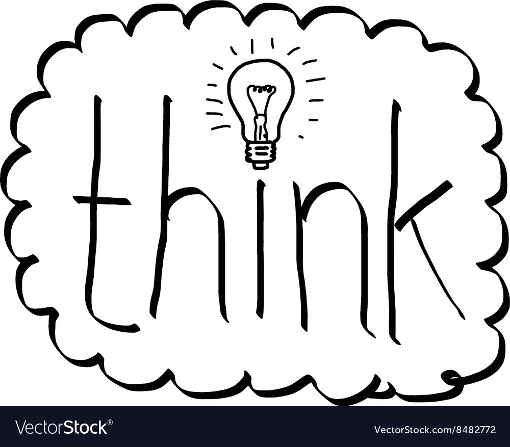 Hand drawn doodles of the word think with bulb vector