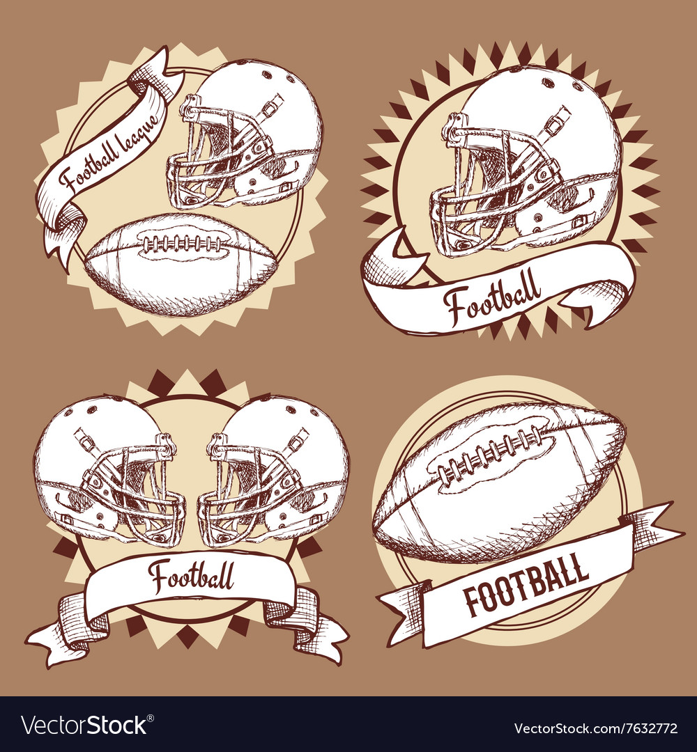 Sketch football logotypes in vintage style vector