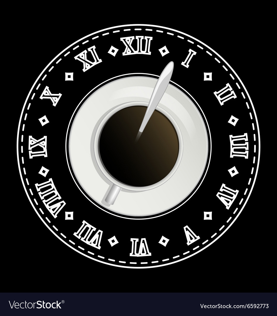 Black board with coffee cup and drawing clock vector