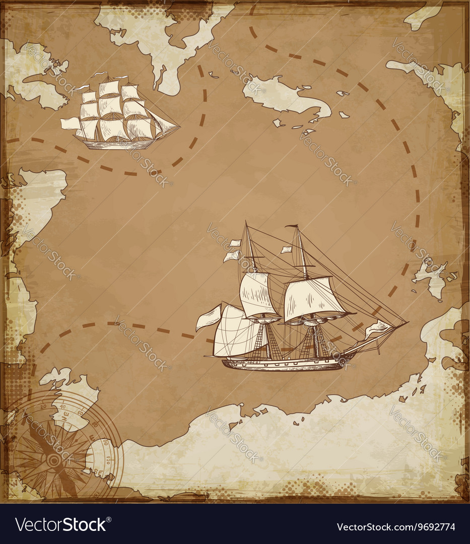 Ancient map with ships vector