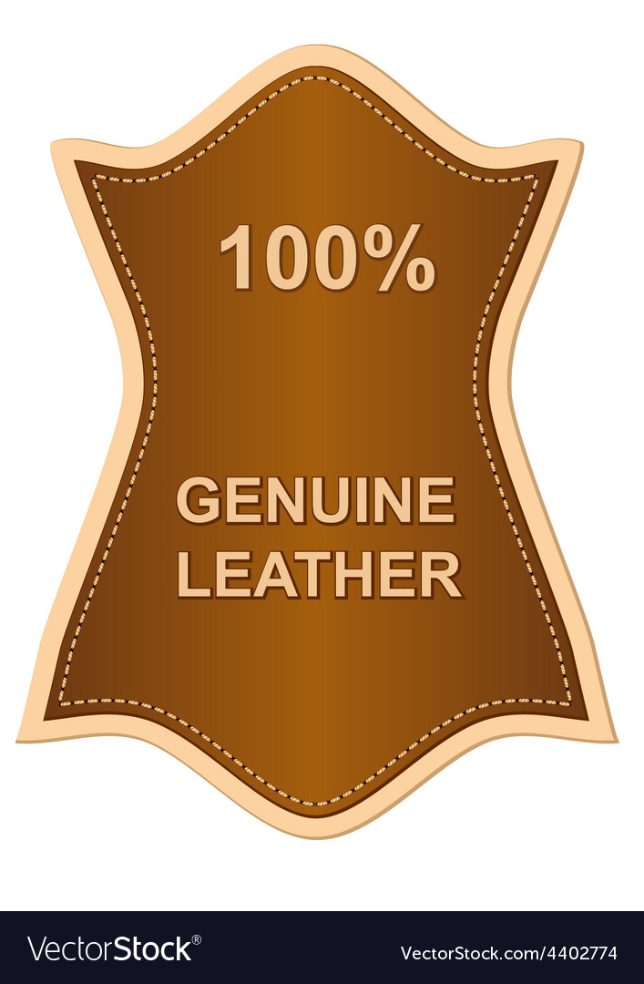 Genuine leather label vector