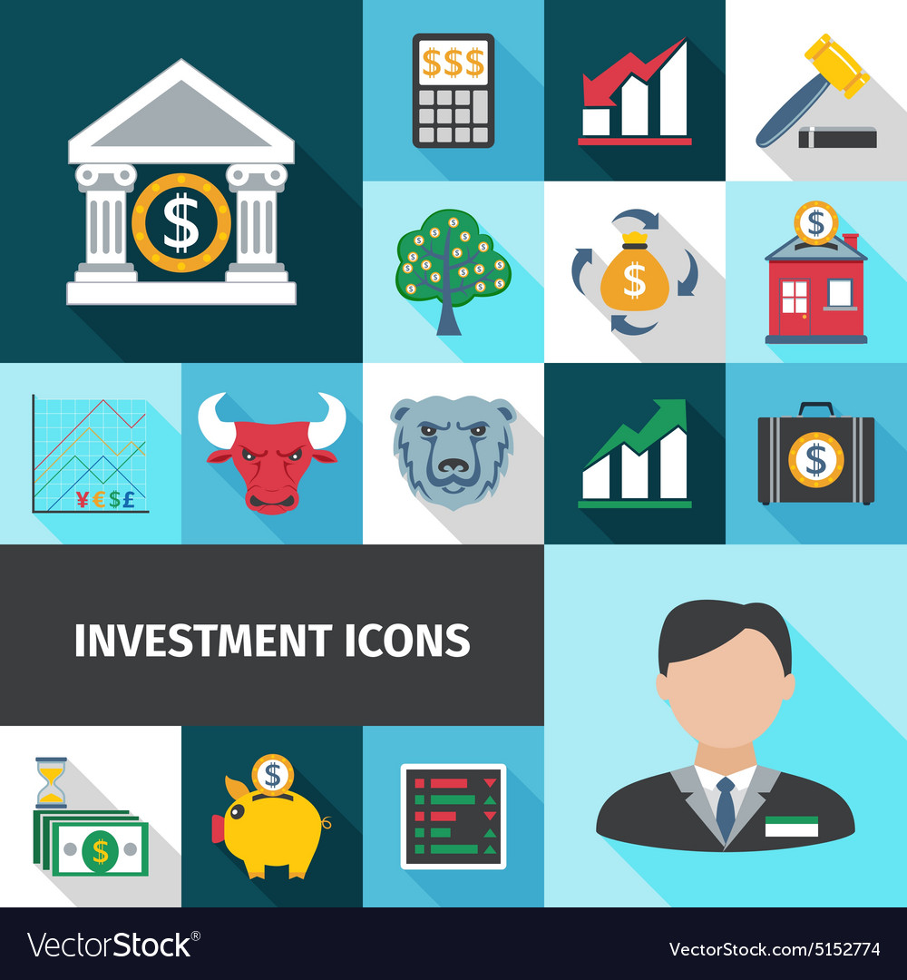 Investment long shadows icon set vector