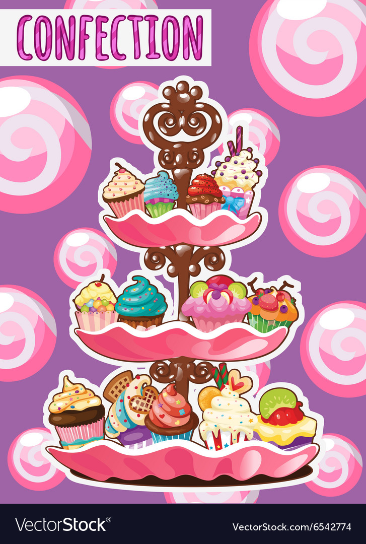 Threestorey dish of different cakes vector