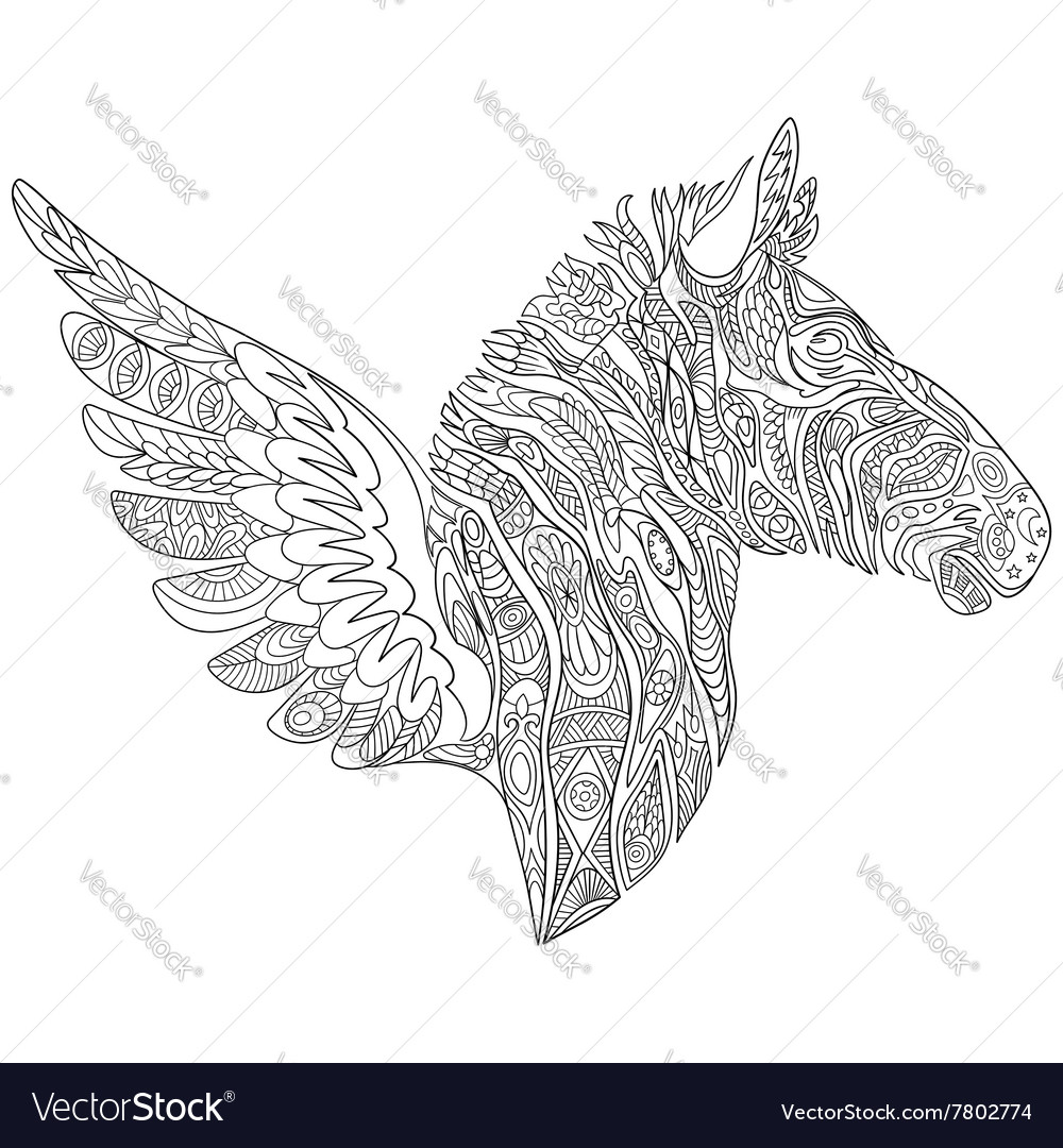 Zentangle stylized cartoon zebra with wings vector