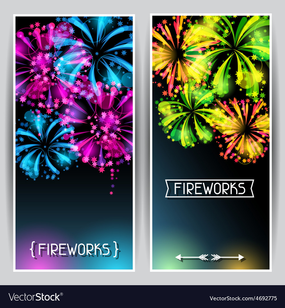 Banners with bright colorful fireworks and salute vector
