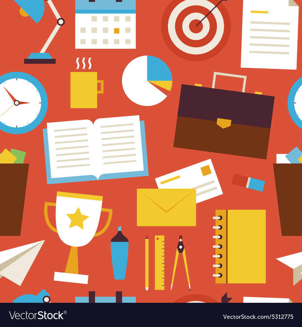 Flat seamless pattern business and office objects vector