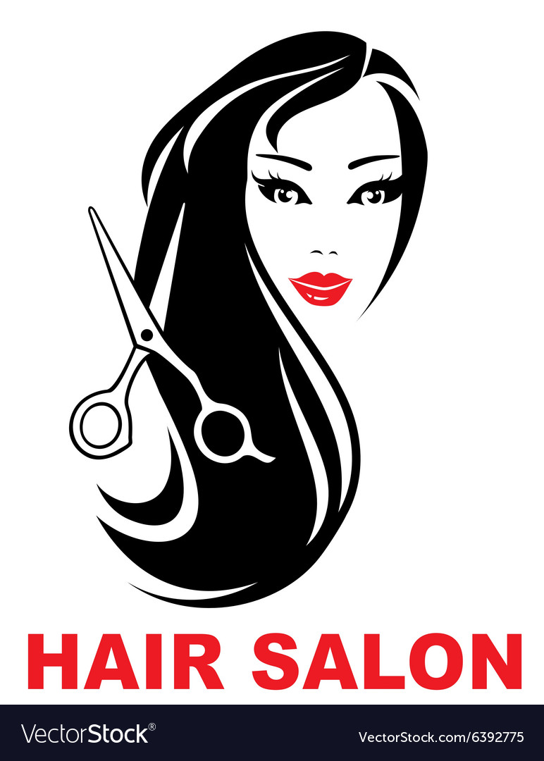 Hair salon icon with woman face vector