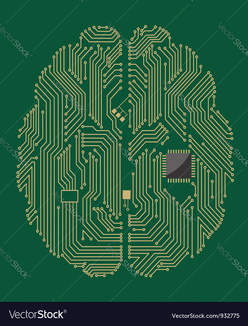 Motherboard brain on green background vector