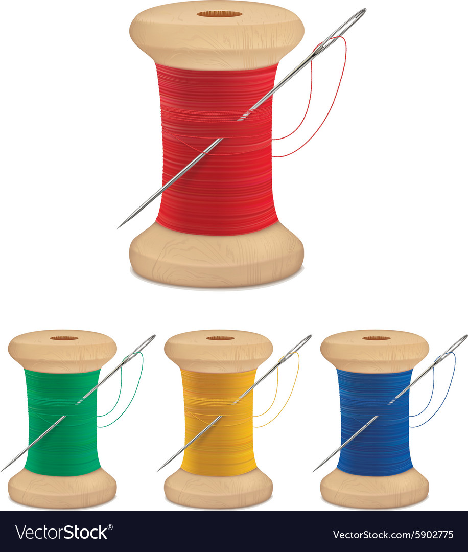 Spools of thread with needle vector