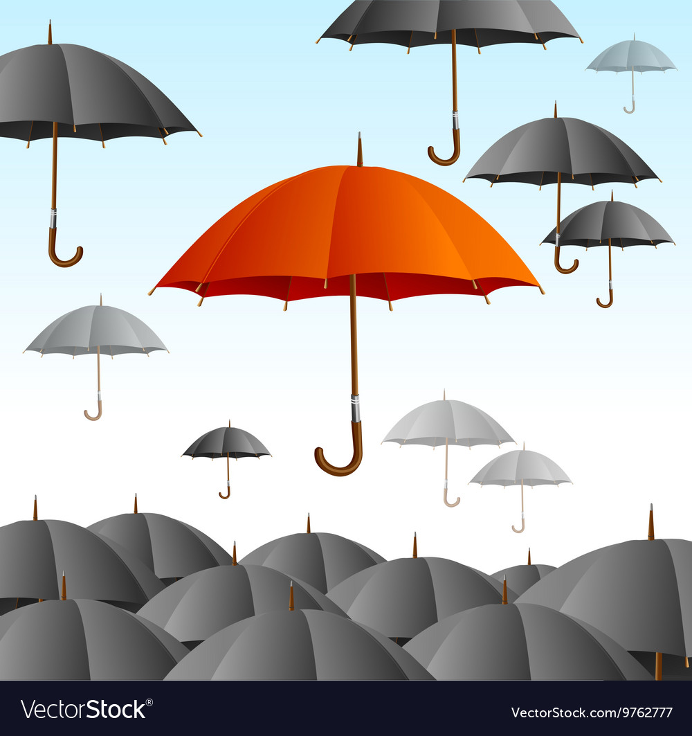 Red umbrella on black fly high vector