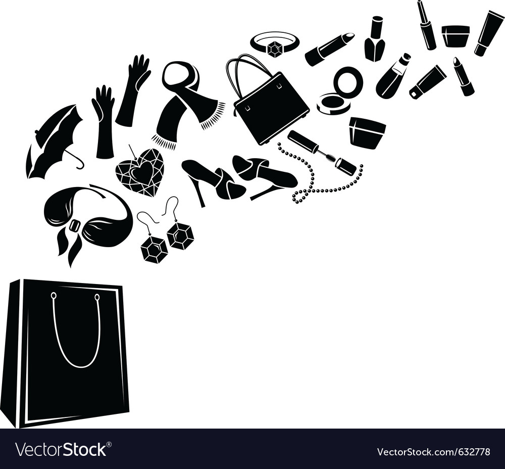 Different womans things in bag vector