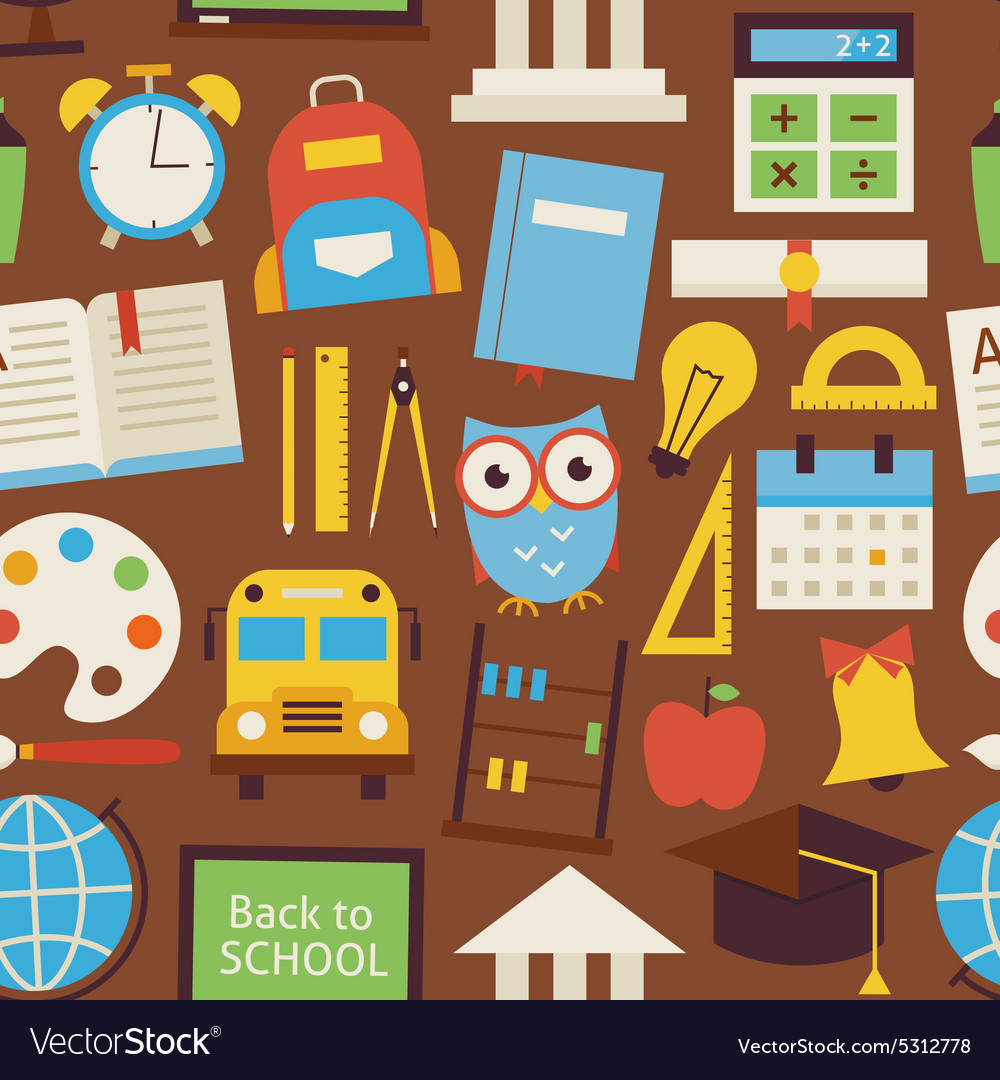Flat seamless pattern back to school and education vector