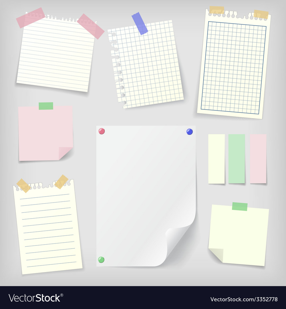 Postit set of sticky notes and notebook paper vector