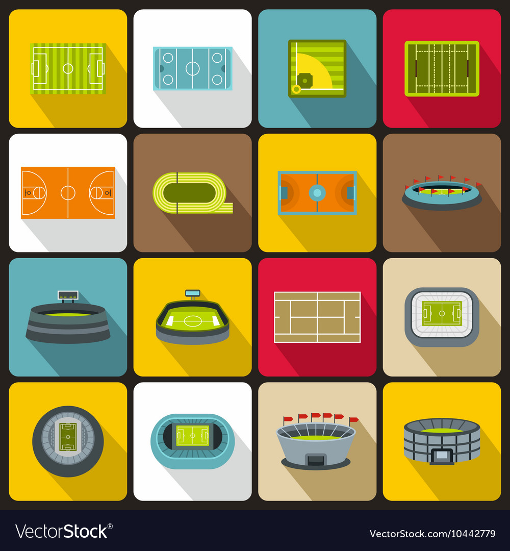 Sport stadium icons set flat style vector