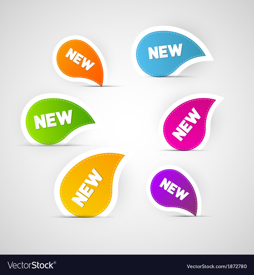 Colorful new labels stickers tags vector