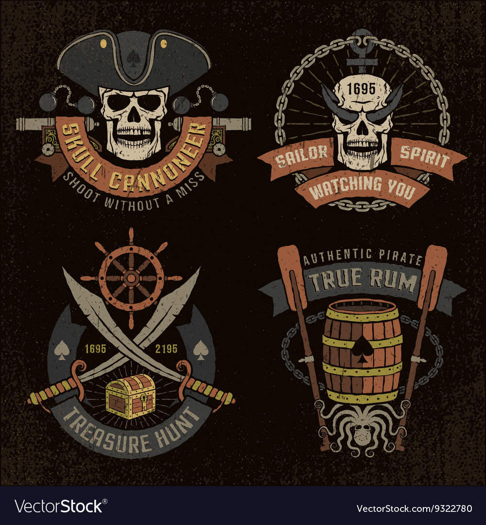 Pirate emblem with skulls vector