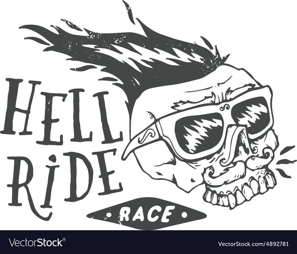 Hell ride race lettering mustached biker scull vector