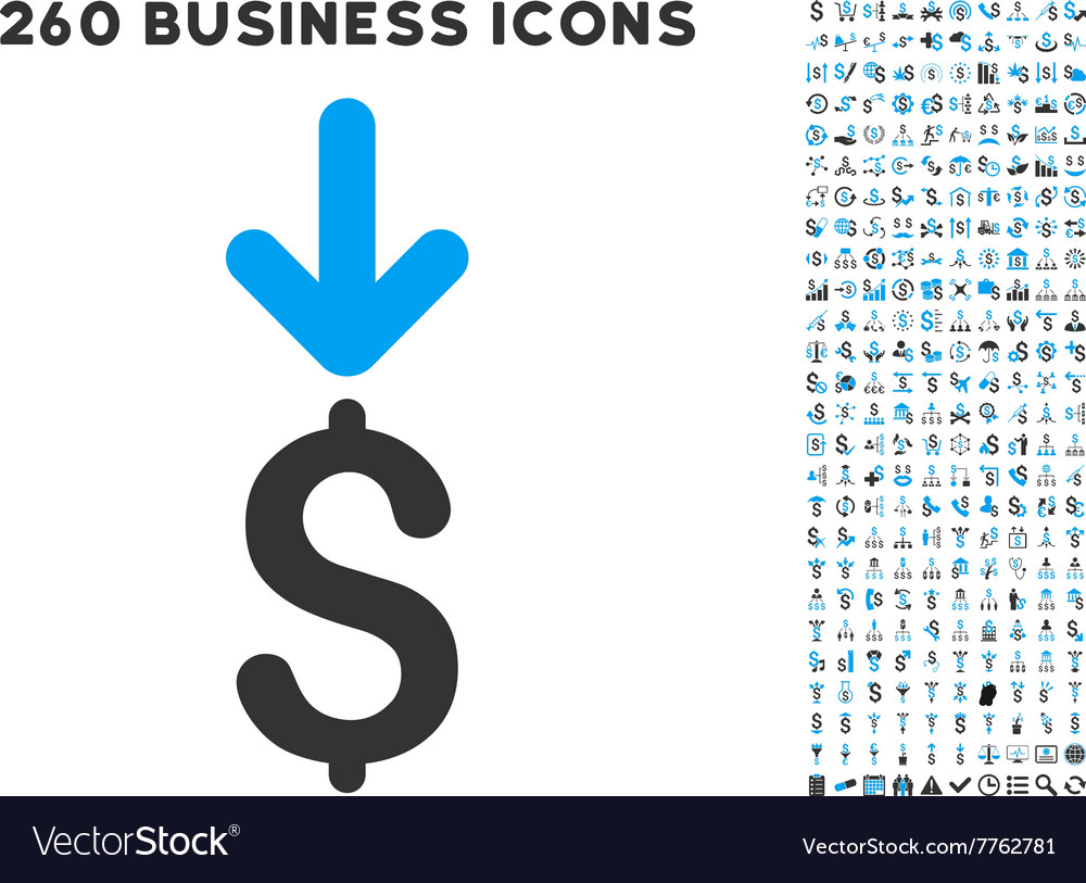 Income dollar icon with flat set vector