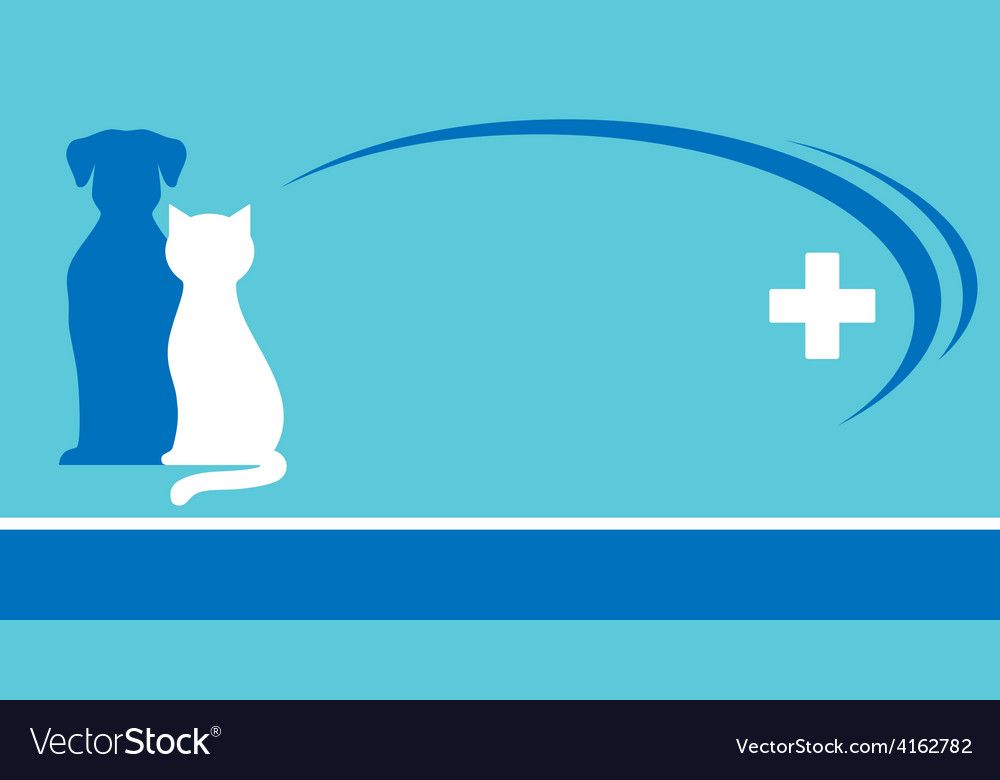 Blue veterinarian background and pets silhouettes vector