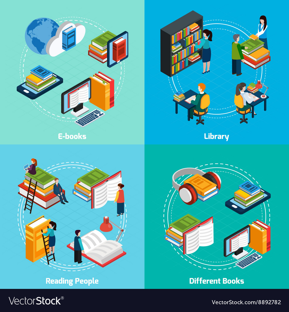 Library isometric 2x2 compositions vector