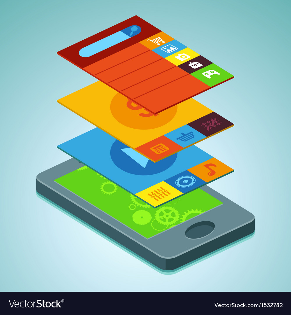Mobile phone with interface screens vector